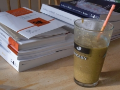 8 am: Homeschool and a smoothie