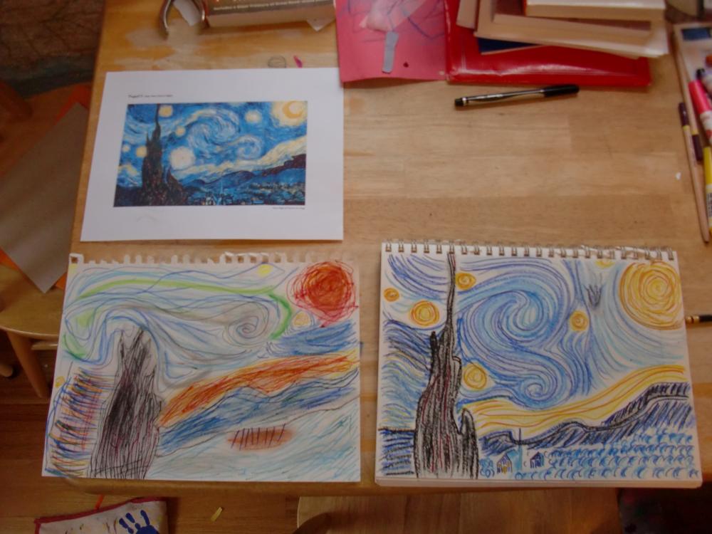 Top: Van Gogh's Starry Night. Bottom left: My daughter's. Bottom right: mine.