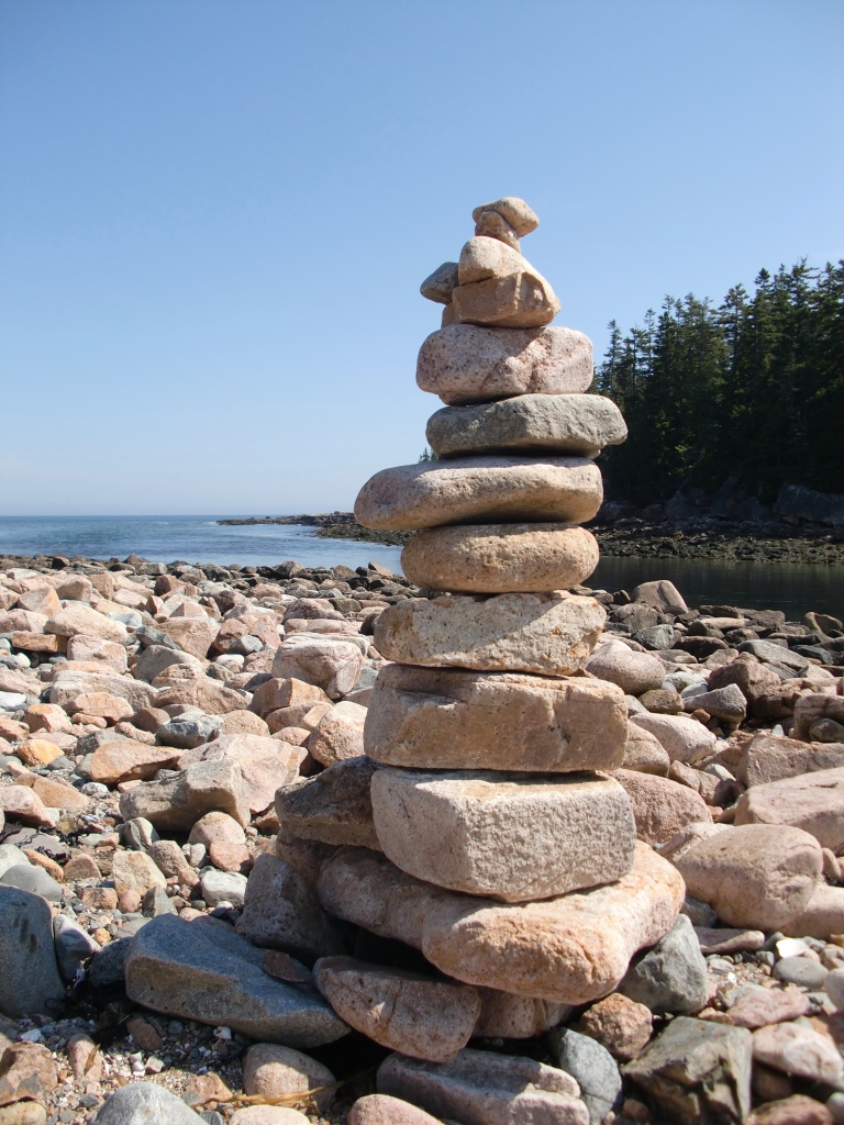 Cairn along Ship Harbor Trail.